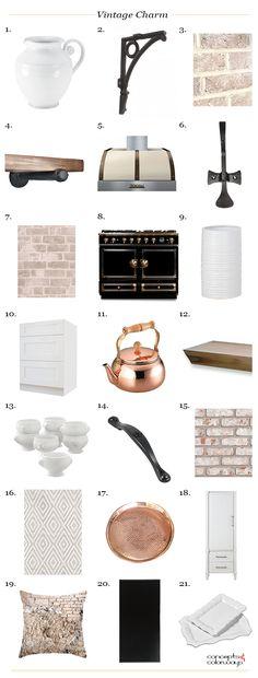 vintage charm interior product roundup, black, whitewashed wood, hammered copper, white ceramic, white shaker cabinets, wrought iron, vintage interior design