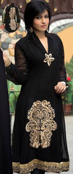 Buy Latest Black Salwar kameez online on Utsav Fashion. Shop from a huge collection of ladies salwar suits incl. Anarkali, Punjabi, Pakistani and more in spellbinding colours. Anarkali Dress, Anarkali Churidar, Black Anarkali, Salwar Kameez, Kurti, Indian Attire, Indian Wear, Pakistani Outfits, Indian Outfits
