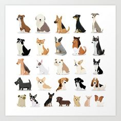 Dog Overload - Cute Dog Series Art Print by Cassandra Gibbons - $15.00