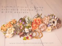 summit floral crowns for maternity sessions, seniors, toddler floral crowns, newborn floral crownss photography props available October 9th 2014 at 8pm eastern. www.couturephantasies.bigcartel..com