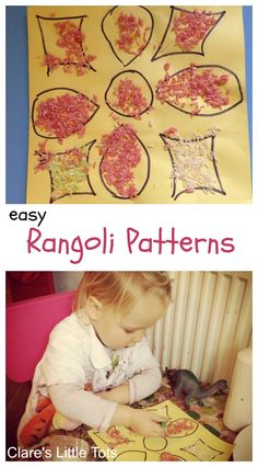easy rangoli patterns for toddlers. Fun Diwali craft activity for kids.