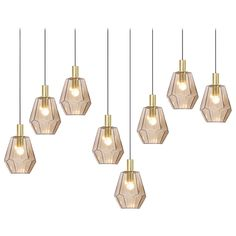 Brass and Smoked Glass Pendant Lamps by Limburg Glashütte HEIGHT:	11.81 in. (30 cm) DIAMETER:	9.06 in. (23 cm)