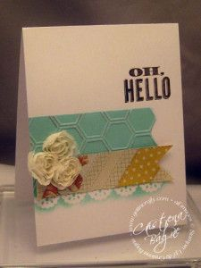 Love all the little details in Cristena's card! She used Oh Hello, Tea for Two dsp, Honeycomb embossing folder, Flower Trim, & Delicate Details Lace Tape.