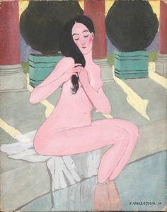 Félix Édouard Vallotton (1865-1925), La Baigneuse rose, 1893-1895, détrempe sur carton, 24 x 19 cm. Adjugé : 438 200 € Mercredi 22 juin, Atelier Richelieu. Pierre Bergé & Associés OVV.