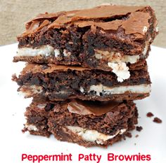 York Peppermint Patty Brownies Recipe.  Make with box brownie mix or from scratch