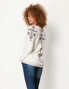 Bershka Egypt - BSK embroidered detail jumper