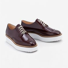 Patent effect platform blucher - Women Burgundy Shoes, White Linen Dresses, Straight Trousers, Patent Shoes, Platform Shoes, Patent Leather, Leather Shoes, Oxford Shoes, Dress Shoes