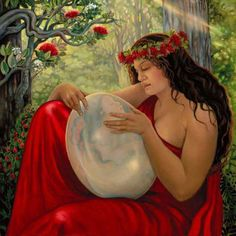 "One of my favorite pieces, ""Pele and Hi'iaka"" by Linda Rowell Stevens.. Amazing Big Island artist! Hawaiian Mythology, Hawaiian Goddess, Hawaiian Legends, Hawaiian Art, Hawaiian Woman, Hawaiian Designs, Caricatures, Wicca, Cosmic Egg"