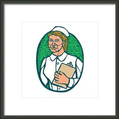 Nurse Holding Clipboard Oval Woodcut Linocut Framed Print By Aloysius Patrimonio