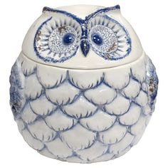Porcelain jar with an owl silhouette. Product: Lidded jarConstruction Material: PorcelainColor: White, blue and brownFeatures: Owl motifDistressed finish Dimensions: H x Diameter Owl Silhouette, Owl Who, Owl Kitchen, Ceramic Owl, Vintage Cookies, Blue And White China, Cute Cookies, Cute Owl, Cookie Jars