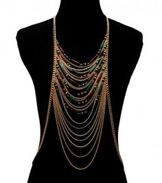 Body Chain Multilayered with Beads Green Black Gold Draping Metal Chains Armor Designer Statement