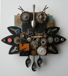 Recycled Art Collage      Metal Owl     Original by redhardwick, $105.00