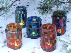 frascos con venecitas - Buscar con Google Cd Diy, Mosaic Crafts, Mosaic Art, Mosaic Bottles, All Craft, Diy Candles, Some Ideas, Art For Kids, Mason Jars