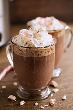 Cozy Peppermint Hot Chocolate {Slow Cooker} Recipe | Little Spice Jar
