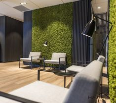 Dark accent wall with greenery in the waiting room (left wall upon entry). Corporate Office Design, Office Reception Design, Office Wall Design, Industrial Office Design, Office Lounge, Modern Office Design, Office Interior Design, Office Interiors, Corporate Offices