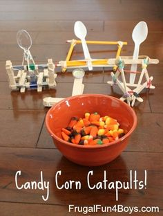 This would be a fun fall play date or family night - build and test catapults that shoot candy corn!  Four design ideas in the post.