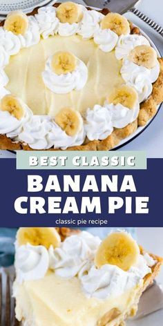 This is the BEST Banana Cream Pie Recipe from scratch with pudding! This pie has homemade pudding with a from scratch crust and fresh whipped cream. It's an easy old-fashioned pie! Amish Peanut Butter Pie Recipe, Banana Cream Pie Recipe With Pudding, Easy Banana Pudding, Banana Pudding Recipes, Easy Pie Recipes, Cream Pie Recipes, Sweet Recipes, Salad Recipes, Dessert Cake Recipes