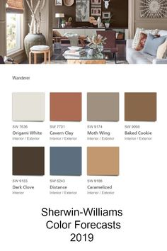 Sherwin-Williams Colormix® Color Forecast 2019 Wanderer palette - This palette can be seen in the baked clay canyons, worn leather and woven wool blankets of the true New West. Warm Paint Colors, Paint Colors For Living Room, Paint Colors For Home, Room Colors, Tuscan Paint Colors, Paint Color Palettes, Paint Color Schemes, Dark Interiors, Colorful Interiors