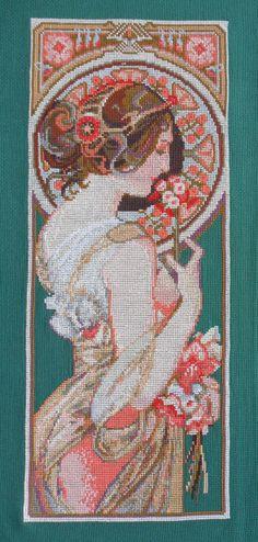 "Cross Stitch by Svetlana Shevchenko (Russia). Работа выполнена по картине  Альфонса Мухи ""Примула""."