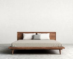 King bed frame / Asher is a mid-century modern inspired bed with tapered legs and beautiful dark-stained walnut… - PinsTrends Mid Century Bed, Mid Century Modern Bedroom, Cama Design, Modern Queen Bed, Bedroom Furniture, Furniture Design, Furniture Ideas, Furniture Storage, Furniture Online