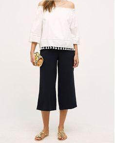 Anthropologie Cropped Nara Wide-Legs XL, Navy Blue Pants Trousers By Cartonnier #Cartonnier #DressPants