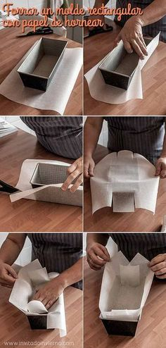 Cómo forrar con papel un molde rectangular / how to line a cake pan with parchment paper Bread Packaging, Dessert Packaging, Bakery Packaging, Cookie Packaging, Food Packaging Design, Bread Cake, Loaf Cake, Cake Cookies, Cupcake Cakes