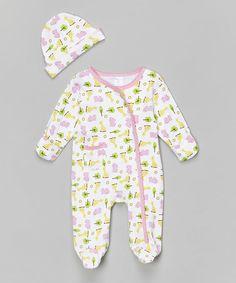 Pink Giraffe Footie & Beanie - Infant #zulily #zulilyfinds