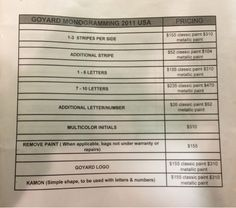 Goyard monogram price list