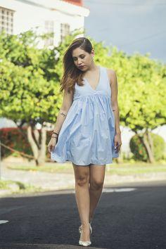 Vestido Celeste Pull & Bear | Dream Life Factory