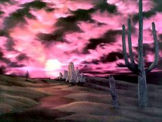 Bob Ross painting - rare southern landscape or New Mexico style - lots of colors -MR