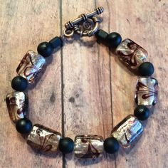 Black and Bronze  Beaded Bracelet by DungleBees on Etsy