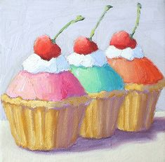 """Cupcakes by Pat Doherty Oil ~ 6"""" x 6"""""""