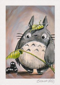 """Totoro"" by Bianca Roman-Stumpff, mounted & signed print. Discontinued & no longer available from the artist! Burning Bridges, Where The Heart Is, Totoro, Pet Portraits, Roman, Bunny, Pets, Board, Artwork"