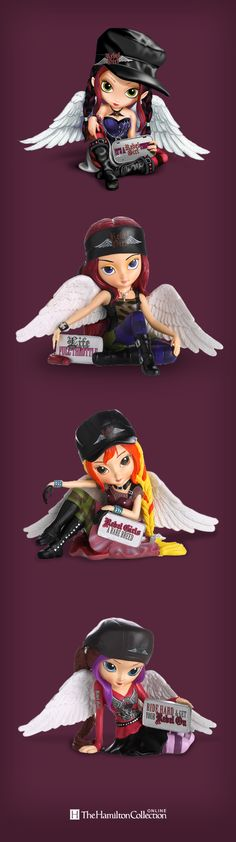 These biker chick fairies prove that even the sweetest girls have a little rebel in them. Created by acclaimed fairy artist Jasmine Becket-Griffith and Rebel Girl® founder Cher Bell, these beautiful rebels are ready to bring their fearless free-spirit to your home: