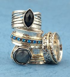 Silver Spinning Ring with Goldfilled Bands - Spinning Rings - Rings