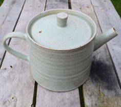 Handmade pottery teapot with a pale green speckled stoneware glaze. Hand crafted ceramics by TimFennaCeramics on Etsy Small Tea Cups, Pottery Teapots, Handmade Pottery, Stoneware, Glaze, Tea Pots, Ceramics, Mugs, Green
