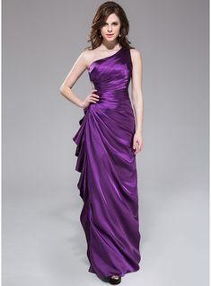 Sheath/Column One-Shoulder Floor-Length Charmeuse Bridesmaid Dress With Beading Cascading Ruffles