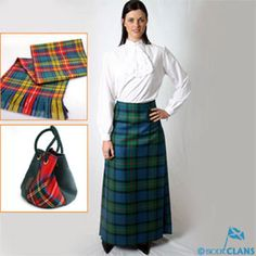 Hostess Kilted Skirt Made by Lochcaron of Scotland - one of Scotland's best known weavers - Long kilted skirt (max length 41