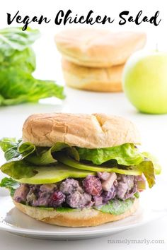 This vegan chicken salad is easy to make and reminiscent of the recipe you've enjoyed for years...except this one is made without meat or dairy! But don't worry, there's lots of flavor, healthy protein, and creaminess to keep you coming back for more! Have it for summer picnics, family dinners, or just as a delicious vegetarian sandwich any time of the year! #vegan #plantbased #chickensalad #salad #sandwich #namelymarly #vegetarian