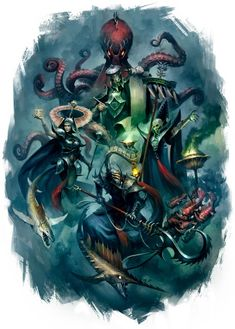 Idoneth Deepkin - a new race of sea / fish aelves for Warhammer Age of Sigmar Warhammer Art, Warhammer Fantasy, Warhammer 40000, Fantasy Battle, Dark Fantasy, Fantasy Heroes, Fantasy Rpg, Fantasy Characters, Character Art