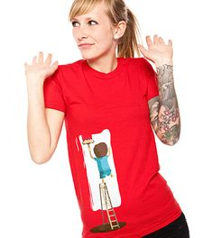 Daily Tee: Paint in red with deuxieme couche designed by Bpm