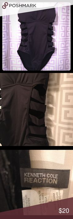 Black size L Kenneth Cole swimsuit, never worn. Black size large Kenneth Cole swimsuit, like new, never worn. Kenneth Cole Reaction Swim One Pieces