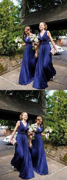 Bridesmaid Dress V-neck, V Neck Bridesmaid Dress, A-Line Bridesmaid Dress, Long Bridesmaid Dress, Bridesmaid Dress Chiffon Bridesmaid Dresses 2018 Royal Blue Bridesmaids, Royal Blue Bridesmaid Dresses, Bridesmaid Dresses With Sleeves, Mermaid Bridesmaid Dresses, Royal Blue Dresses, Bridesmaid Colours, Modest Dresses, Wedding Dresses, Pink