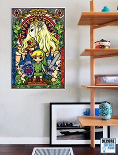 Adesivo Decorativo de Parede Games - Vitral Zelda :: Olha que fantástica essa simulação de vitral de Legend of Zelda agora disponivel nesse super adesivo de parede
