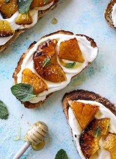 roasted pineapple whipped ricotta toast with sea salt l healthy plant based breakfast ideas #vegan #plantbased #healthyrecipes