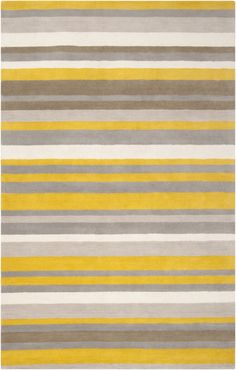 Surya Madison Square Hand Loomed Wool Rug 8 x 10 Rectangle Home Decor Rugs Rugs Wool Area Rugs, Wool Rug, Square Rugs, Yellow Area Rugs, Yellow Rug, Striped Rug, Madison Square, Luxurious Bedrooms, My New Room