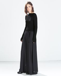 Image 1 of LONG SKIRT WITH CONTRASTING RIBBON from Zara