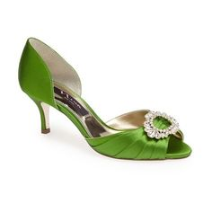 "Nina 'Crystah' Embellished Satin Pump, 2 1/2"" heel ($95) ❤ liked on Polyvore featuring shoes, pumps, heels, apple green, mid heel shoes, satin shoes, embellished shoes, green pumps and green shoes"