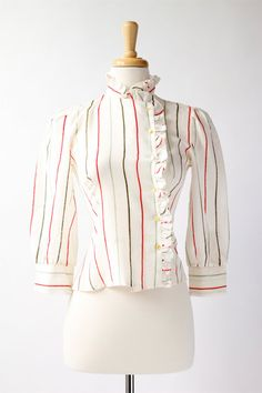 NEW! 1970's vintage striped ruffle blouse