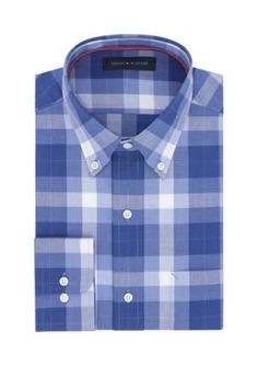 Tommy Hilfiger Men's Non Iron Regular Fit Dress Shirt - Bright Blue - 15.5 34/35